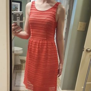 Stretchy coral lace dress Size small